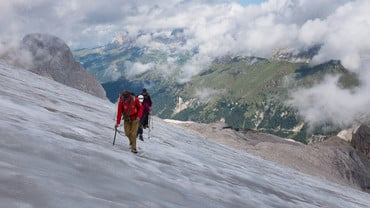 Trekking on the glacier of Marmolada