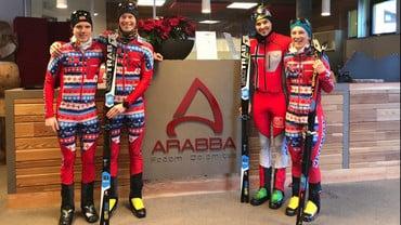 La Nazionale Norvegese di sci alpinismo in allenamento sulle nevi di Arabba