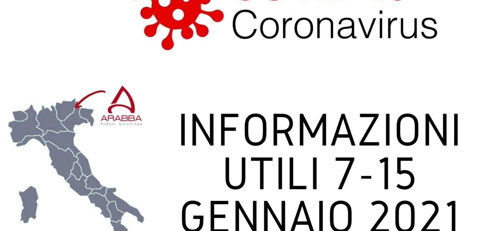 Emergenza Coronavirus: Aggiornamenti dal 07/01/2021 al 15/01/2021