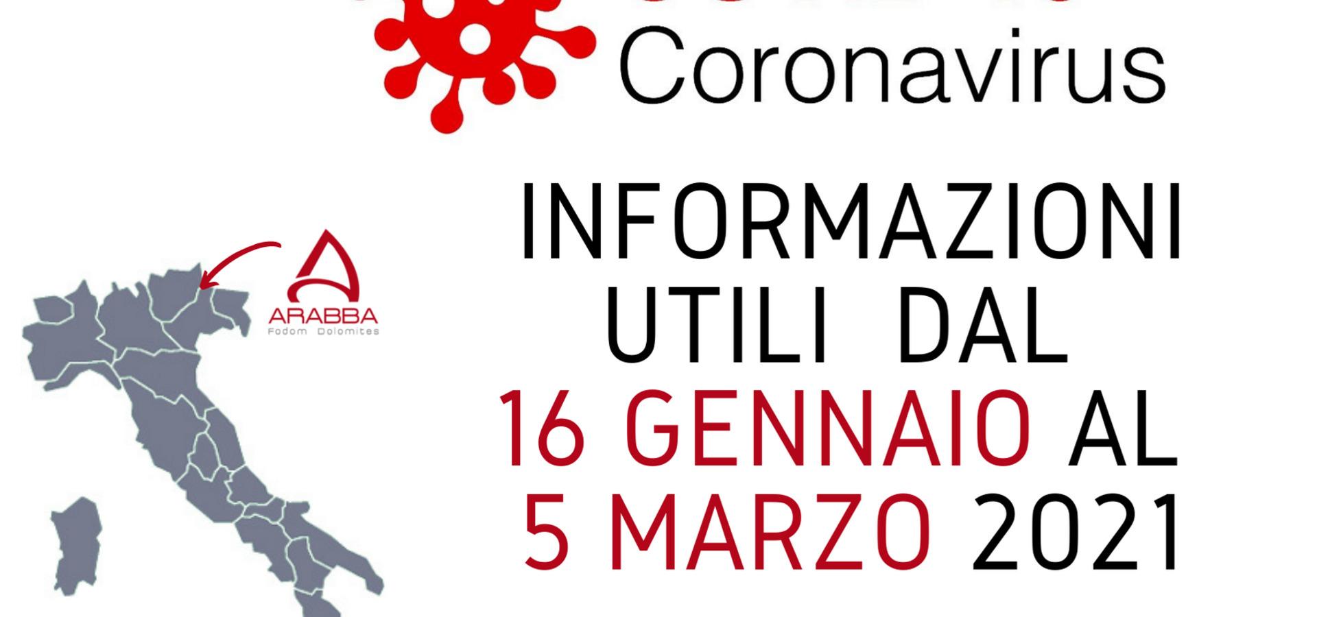 Emergenza Coronavirus: Aggiornamenti dal 16/01/2021 al 05/03/2021