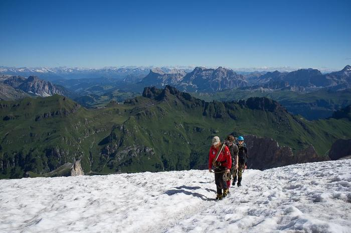 Trekking on the glacier with a mountain guide