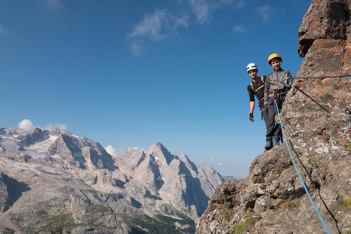 Spezielle Familie: klettern mit dem privat Bergführer
